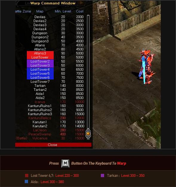 Lost Tower 6,7: Level 220~300, Tarkan:Level 300~350, Aida: Level300~380