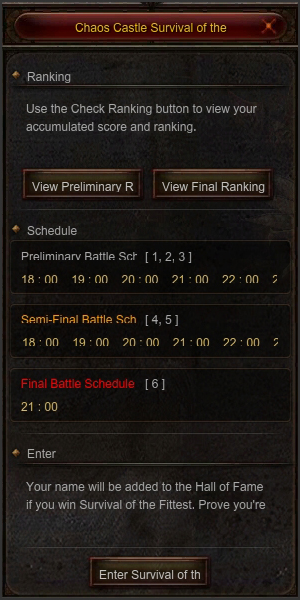 Chaos Castle Survival of the Fittest Basic UI